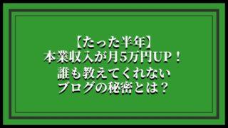 【たった半年】本業収入が月5万円UP!誰も教えてくれないブログの秘密とは?